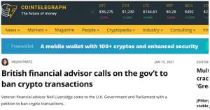 """""""영국 비트코인 전면 불법ㆍ금지선언 첫 국가 되나"""" 저명한 금융전문가 영국 정부에 청원, """"유럽 중앙은행 총재, 러시아 하원의원도 비트코인 위험성 경고"""""""